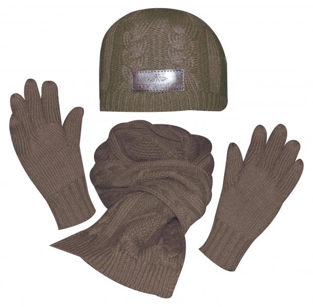 HV Polo Winter-Set Mütze, Schal, Handschuhe dark brown