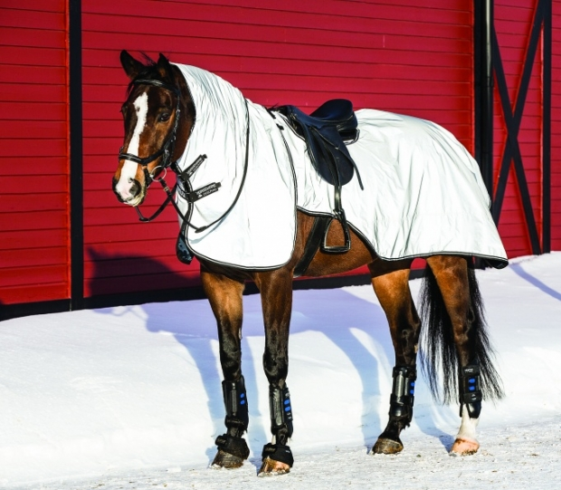 Horseware Rambo Reflective Night Rider reflektierende Ausreitdecke mit Halsteil Silver/Black S-XL