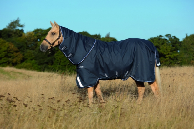 Horseware Amigo Bravo 12 Plus heavy mit Halsteil navy with blue NEU 3 Bauchgurte
