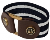 Spooks Riding Striped Bracelet Stretcharmband mit Leder navy-weiß