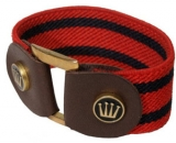 Spooks Riding Striped Bracelet Stretcharmband mit Leder rot-navy